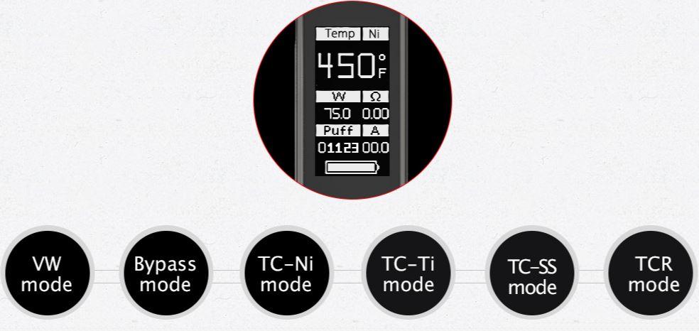 Impostazioni RX75 temperatura wattaggio resistenza
